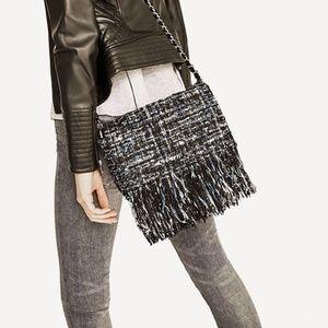 🏆Zara Fringe Tweed Purse Black Blue Metallic Cute